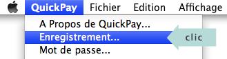 menu pour enregistrer le logiciel